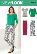 6246 New Look Pattern: Misses' Tapered Ankle Trousers and Knit Top